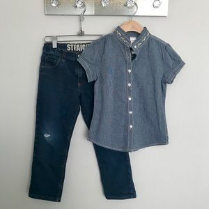 Gymboree chambray top & straight jeans sz 7
